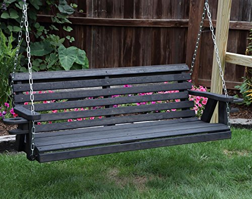 Amish Heavy Duty 800 Lb Roll Back 5ft Porch Swing With Cupholders - MADE IN USA (BLACK) (Black Porch Swing)