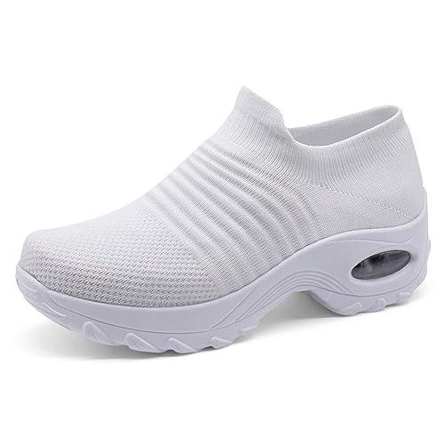 e1b07a3d358 HKR Womens Comfortable Nursing Work Shoes Slip On Lightweight Platform  Walking Sneakers White 10(ZJW1839baise43