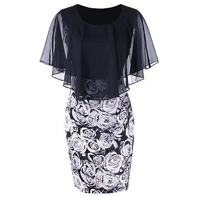 Dress,kaifongfu Fashion Womens Casual Plus Size Skirt Rose Flower Print Chiffon O-Neck