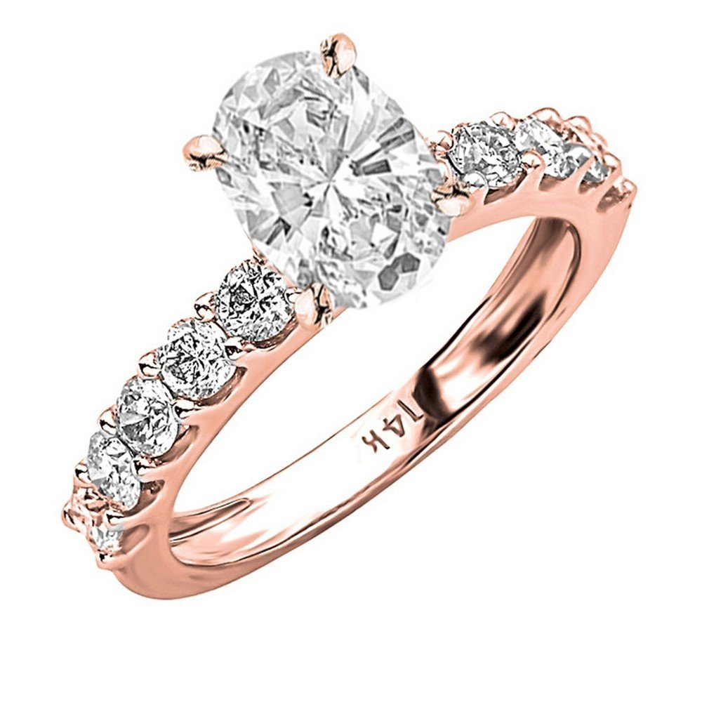 14K Rose Gold 2.1 CTW Classic Side Stone Prong Set Diamond Engagement Ring w/ 1.2 Ct GIA Certified Oval Cut E Color SI2 Clarity Center