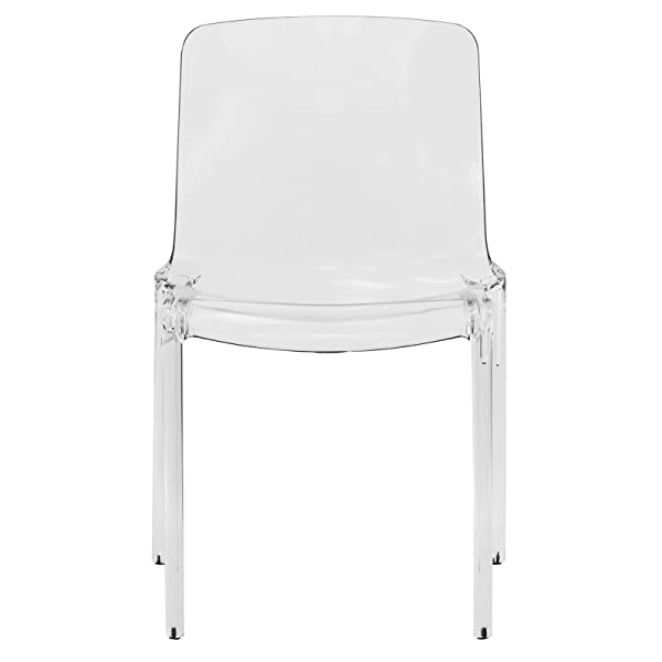 LeisureMod Adler Mid-Century Modern Dining Side Chair in Clear
