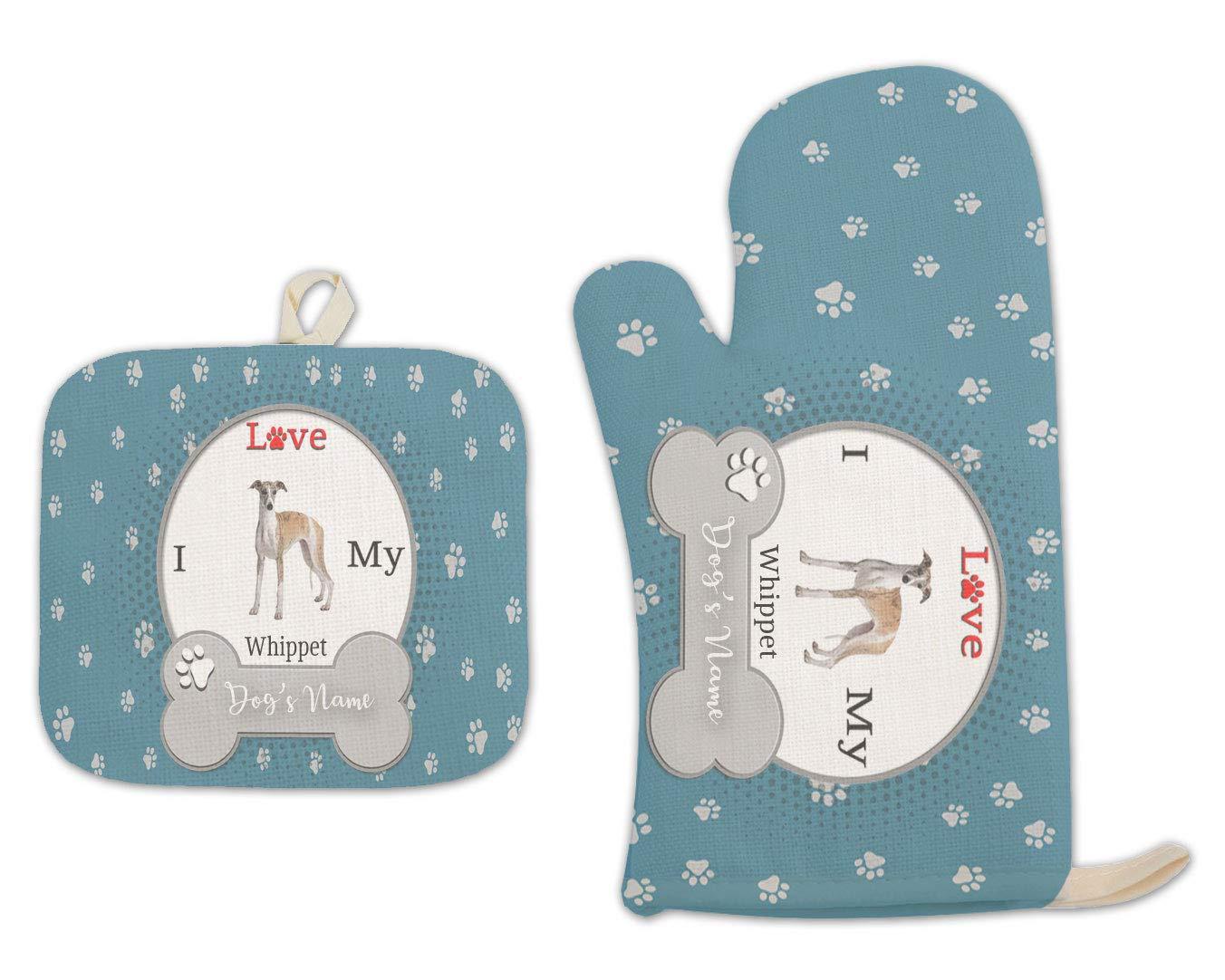 Bleu Reign BRGiftShop Personalized Custom Name I Love My Dog Whippet Linen Oven Mitt and Potholder Set