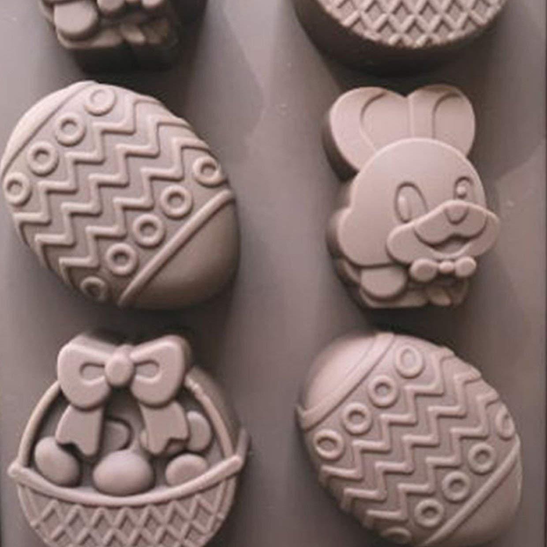 marr/ón MXECO 8 cavidades Huevo de Conejo de Pascua Silicona Molde de Chocolate Decoraci/ón de Pasteles Craft Candy Jelly Mold Herramientas para Hornear