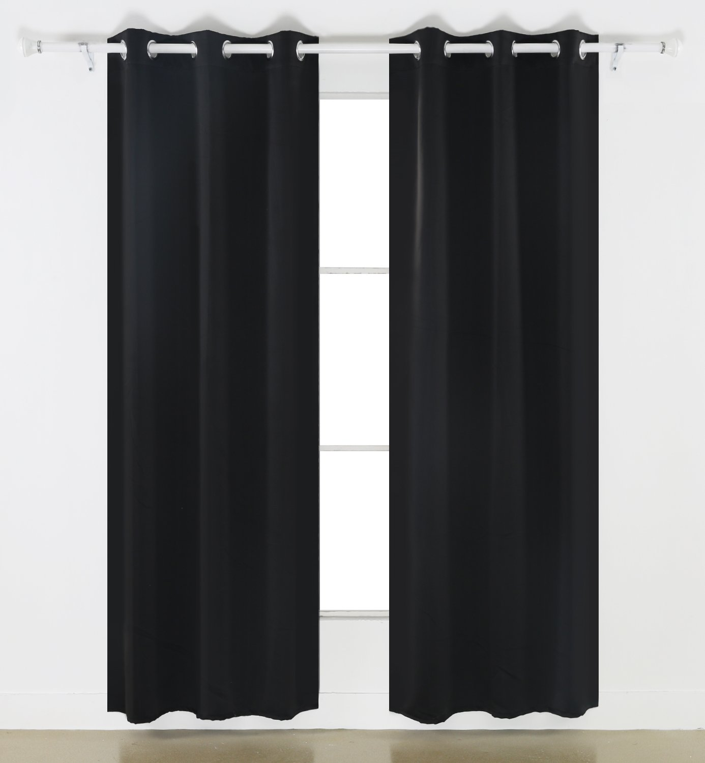 Cafe curtains for bedroom - Deconovo Room Darkening Thermal Insulated Blackout Grommet Window Curtain For Living Room Black 42x63 Inch 1 Panel