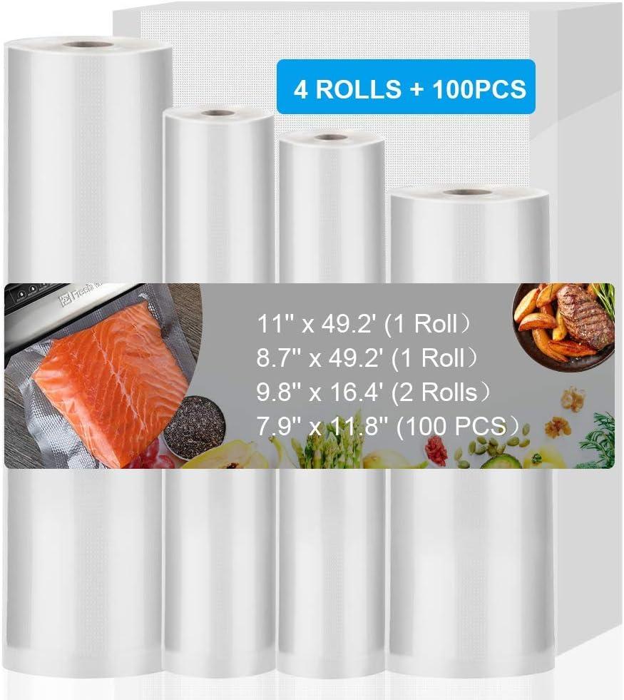 Vacuum Sealer Bags, High Quality Vacuum Sealer Rolls for Food Saver, Seal a Meal, 8.7''x 16.4'(4 Rolls) 11''x 16.4'(4 Rolls) Vacuum Seal Bags for Meal Prep or Sous Vide, BPA Free (Bag 49.2'+16.4')