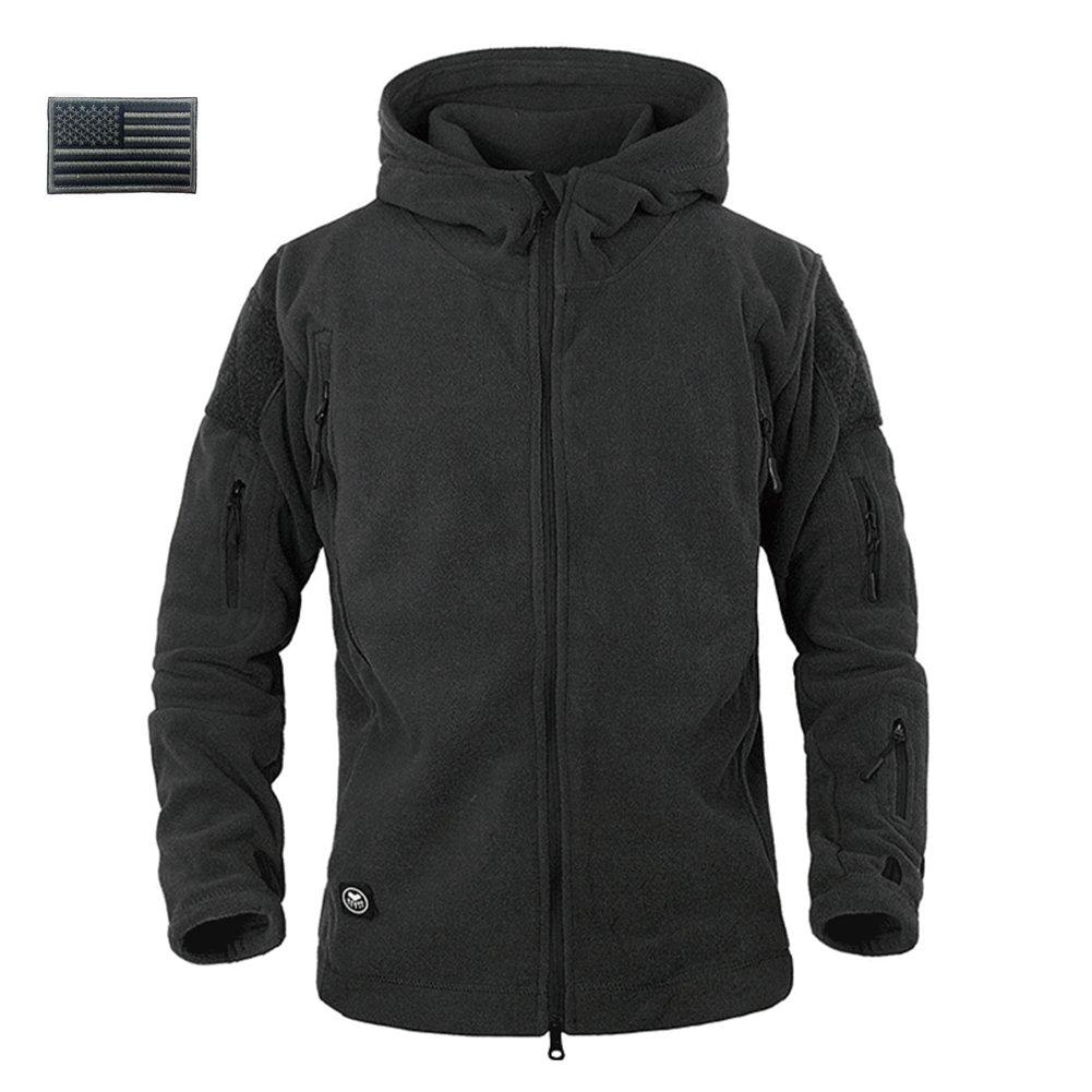 ReFire Gear Men's Warm Military Tactical Sport Fleece Hoodie Jacket ( Large, Black)