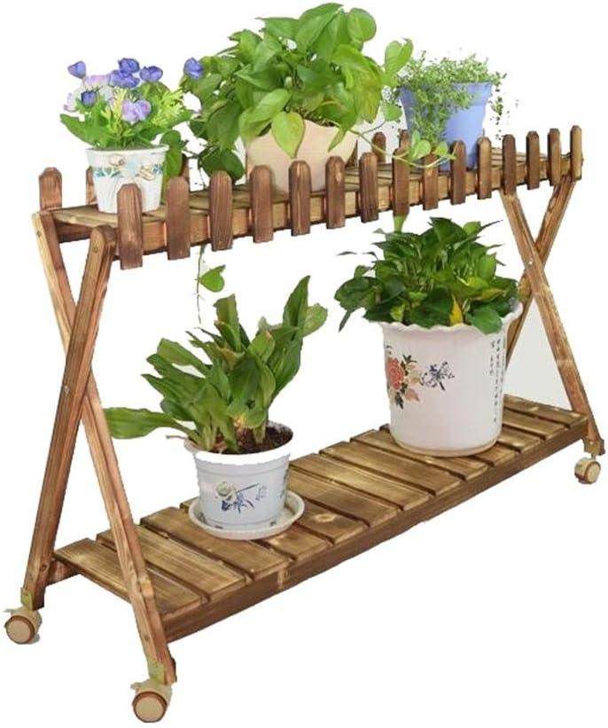 Yan Zhen Polea doble capa viga de madera maciza Pivot extraíble viga de madera Bonsai marco salón con balcón Pergola madera anticorrosión estantería de flor 120 cm: Amazon.es: Hogar