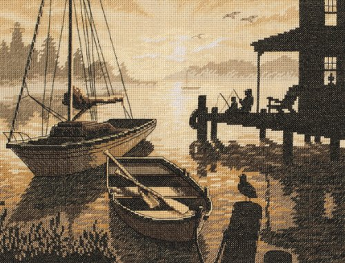 Cross Patterns Nautical Stitch - Dimensions Peaceful Silhouette Counted Cross Stitch Kit, 13
