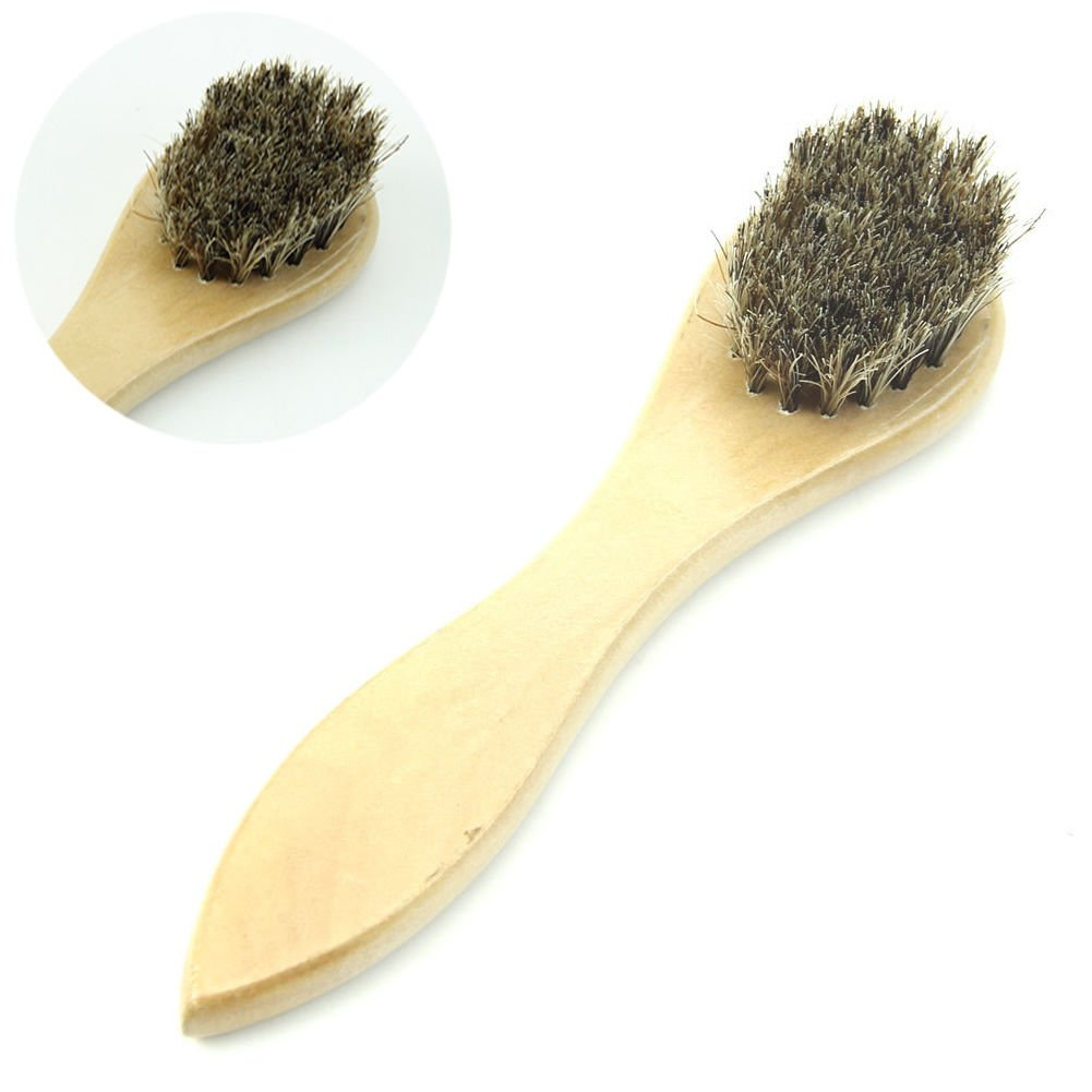 Small Wood Horse Hair Bristles Shoe Polish Buffing Brush Boot Care Clean Wax NEW Thailand