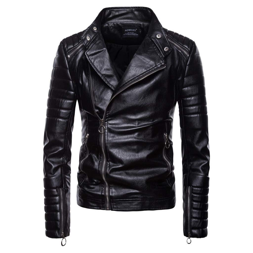Famisamy  Men Vintage Cool Jacket Leather Long Sleeve Autumn Winter Stand Collar Club Coat Black by Famisamy