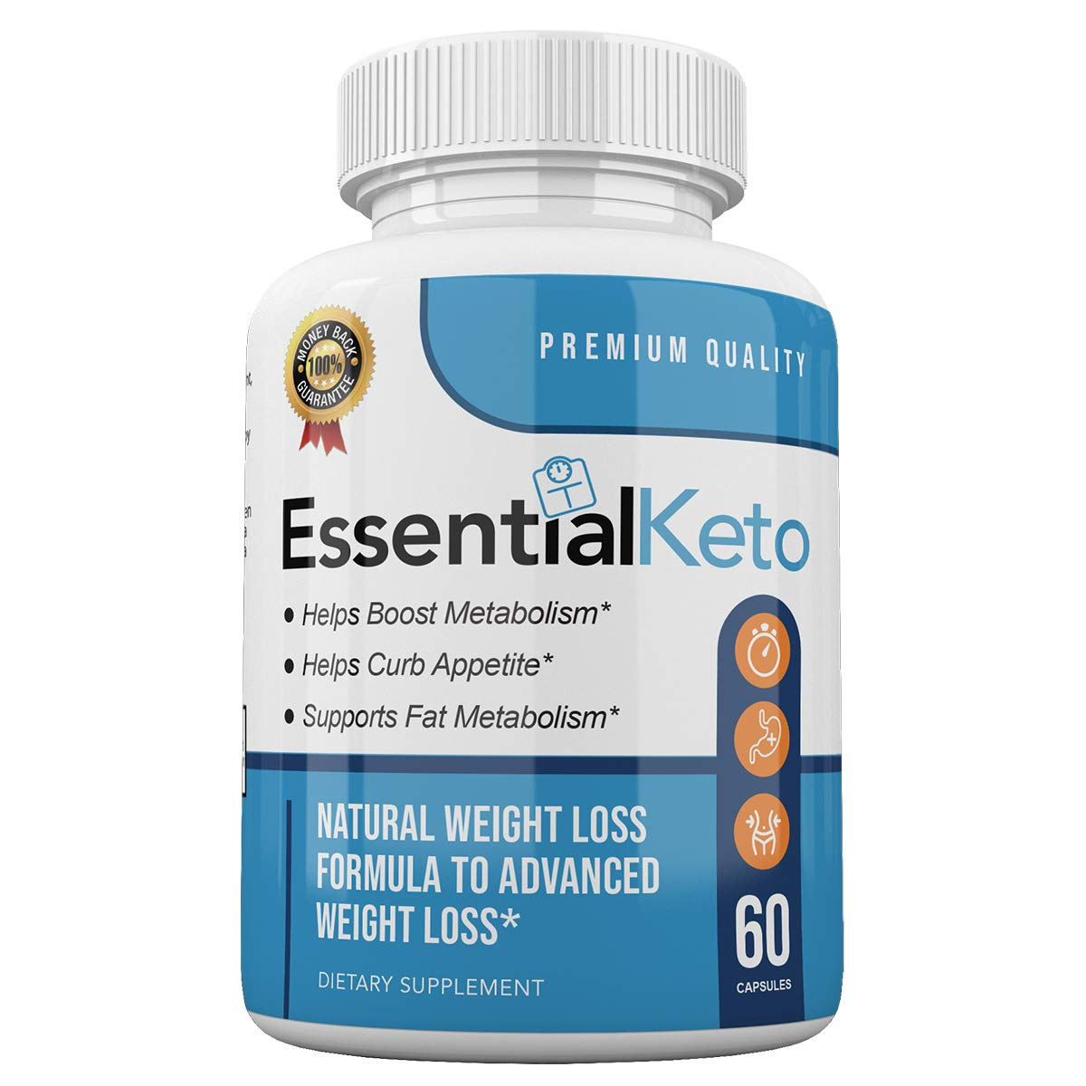 Essential Keto - Premium Quality - Boost Metabolism - Curb Appetite - Advanced Weight Loss Formula - 30 Day Supply - 60 Capsules