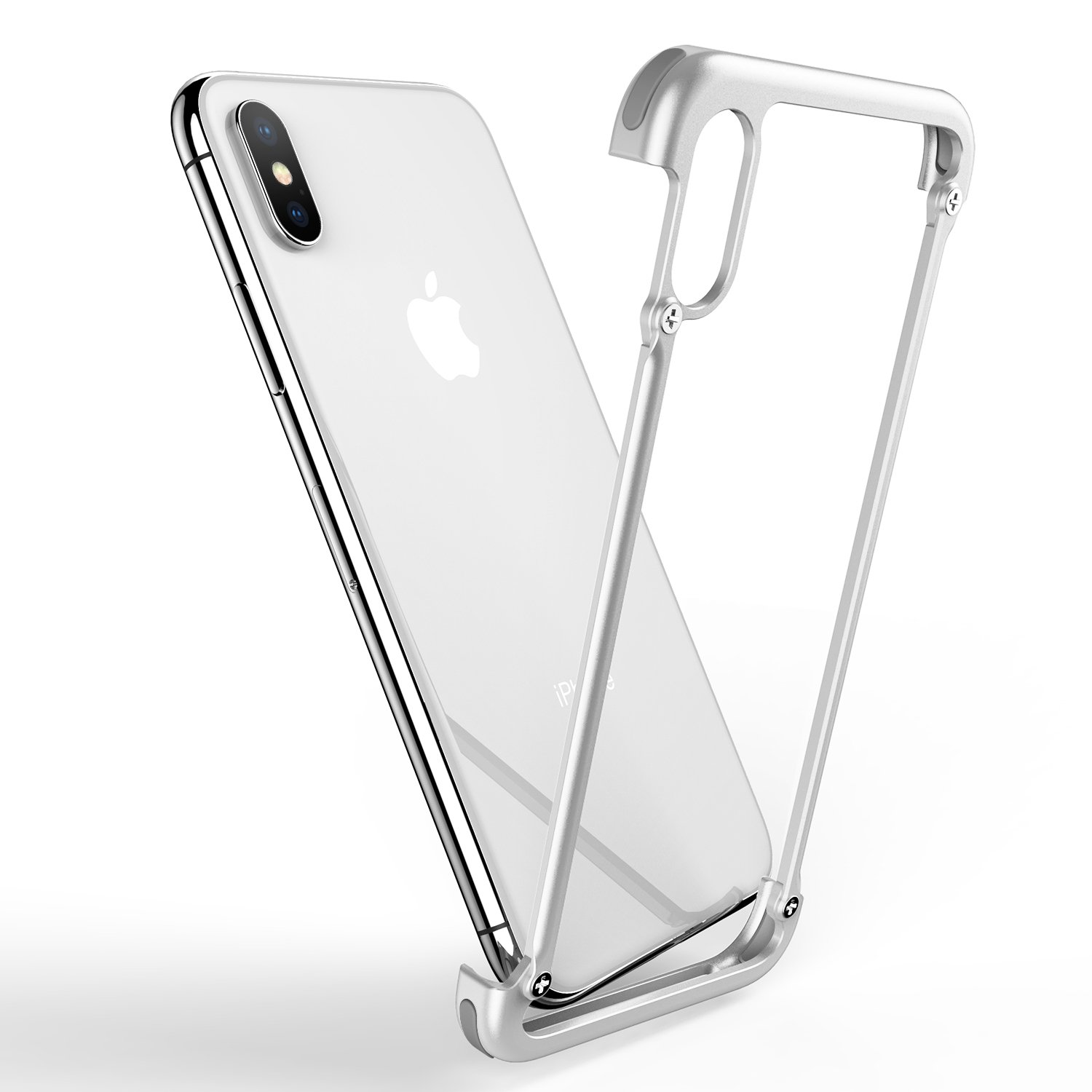 OATSBASF for iPhone X/XS Bumper, Rugged iPhone X/XS Metal Bumper Case Shockproof Frame Case Slim Fit Ultra Thin Bumper [Support Wireless Charge][Extra 2 Protector] for iPhone X/XS