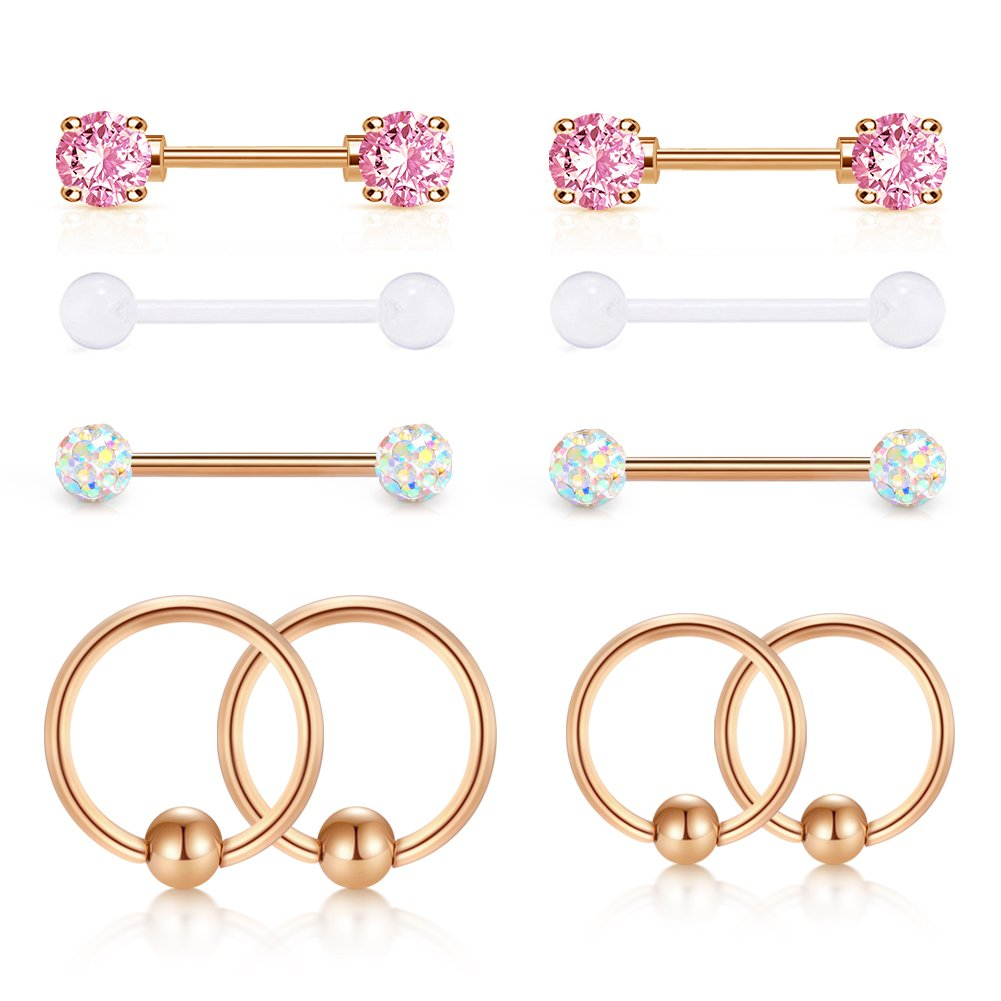JFORYOU Rose Gold Nipple Rings Elegant Pink CZ Stone Nipple Barbell Piercing for Women Nipple 316L Stainless Steel 14G Nipple Bar Ball Closure Ring