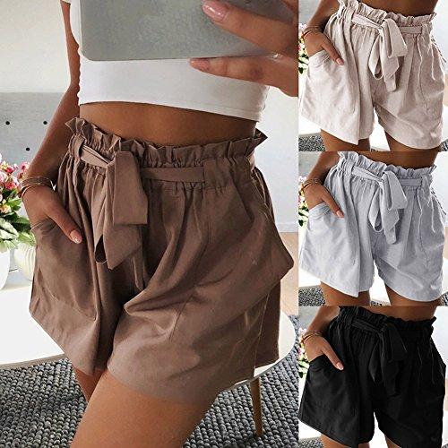 Donna Puro Pantaloni Casual Alta Con Cachi Colore ORANDESIGNE Sportivi Cintura Sciolto Estate Spiaggia Shorts Bermuda Vita Corti Pantaloncini Moda dawwS8q