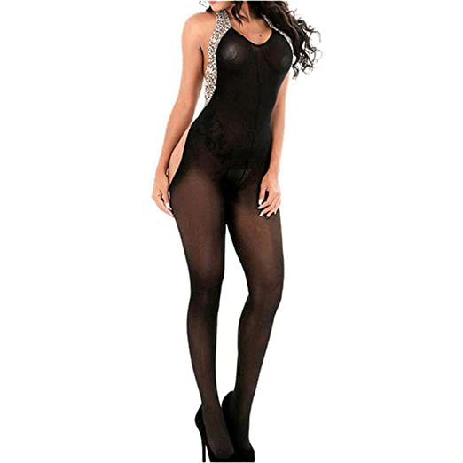 be696a91ac1 Amazon.com  MMkiss Women Lingerie Sexy Lace Strappy Bodystocking Sexy  Erotic Fishnet Leopard  Clothing