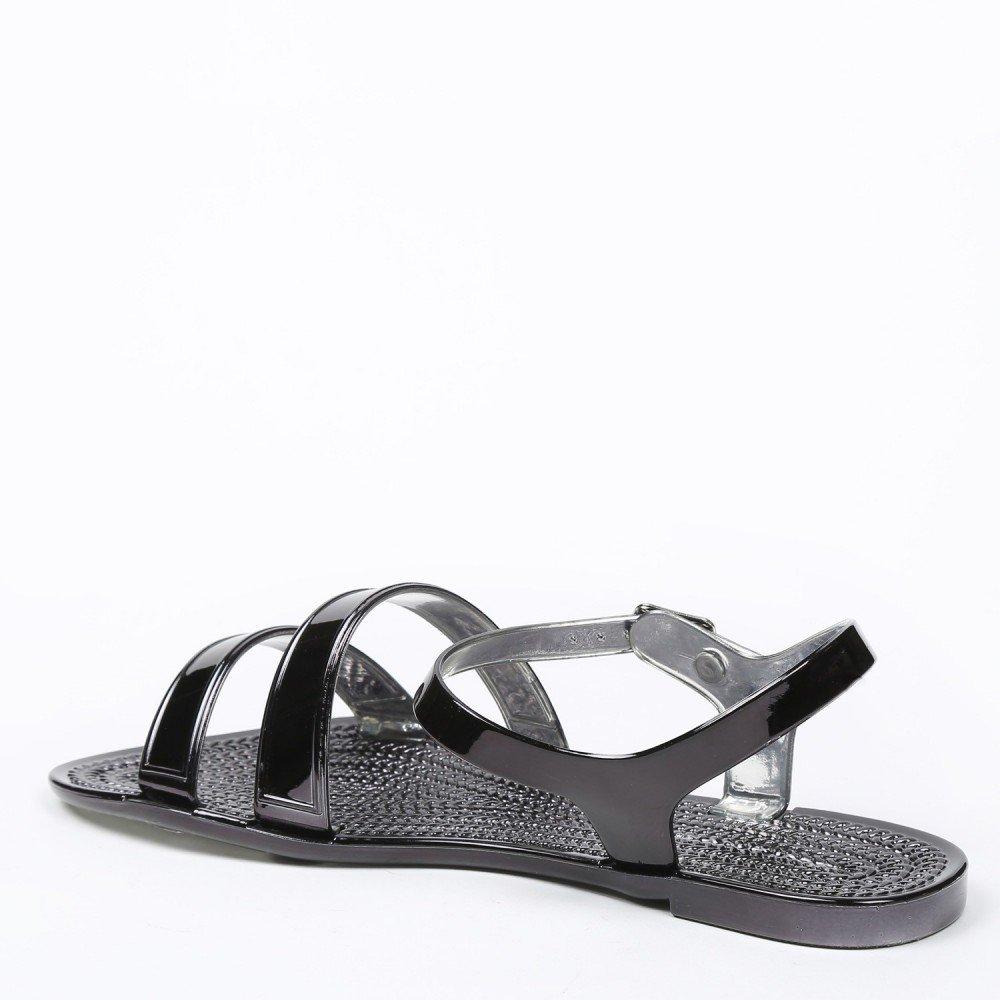 Ideal Shoes Sandali Piatte levigate Sandra, Nero (nero), 39