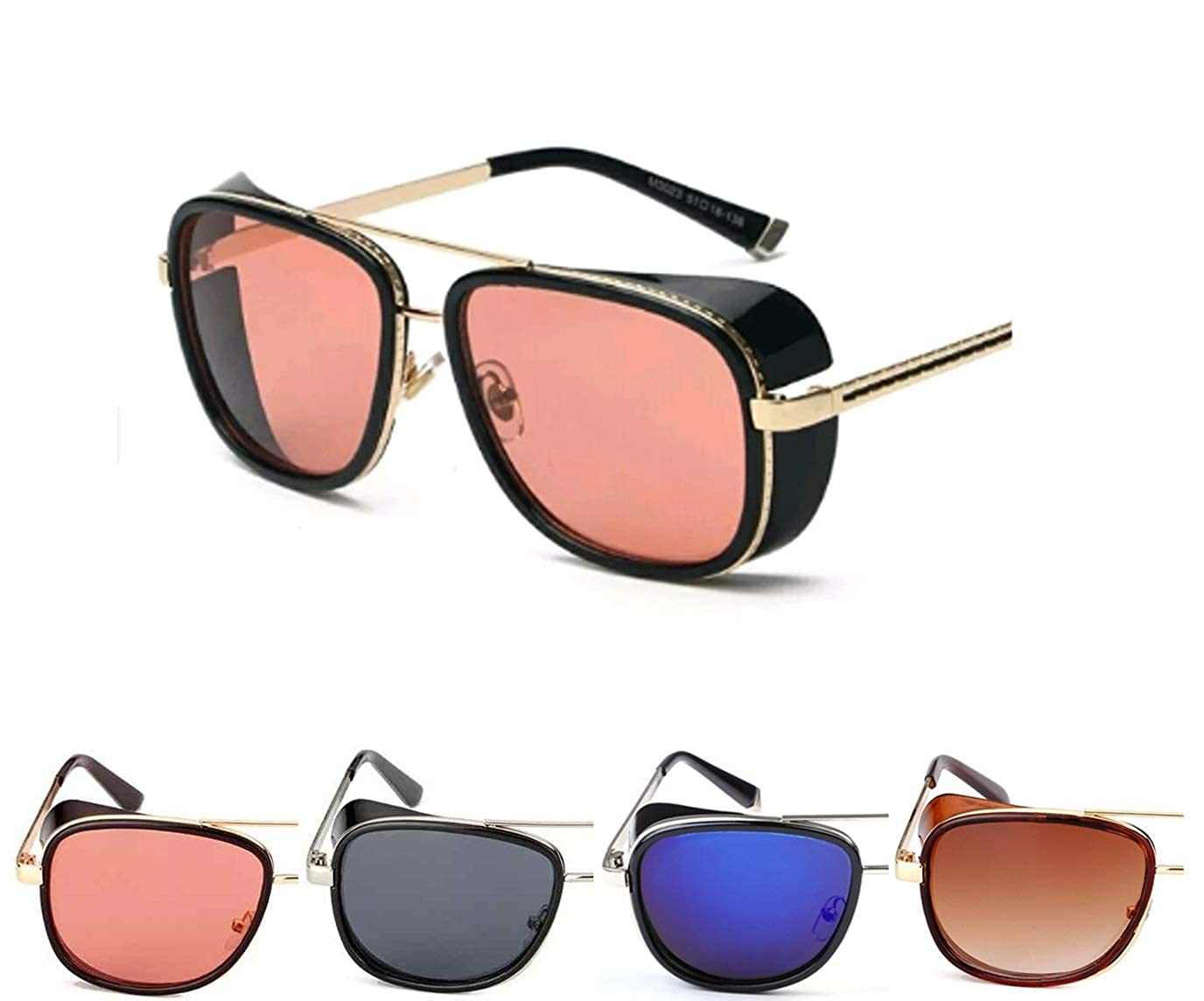 b844dc284db 50 Shades Unisex Tony Stark Iron Man Aviator Steampunk Retro Vintage  Sunglasses (Brown