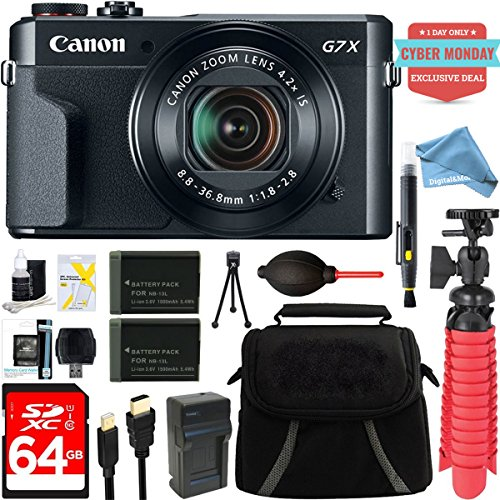Canon Video Housing - Canon PowerShot G7 X Mark II 20.1MP 4.2x Optical Zoom Digital Camera + Two-Pack NB-13L Spare Batteries + DigitalAndMore Free Accessory Bundle (Exclusive Cyber Monday Deal)