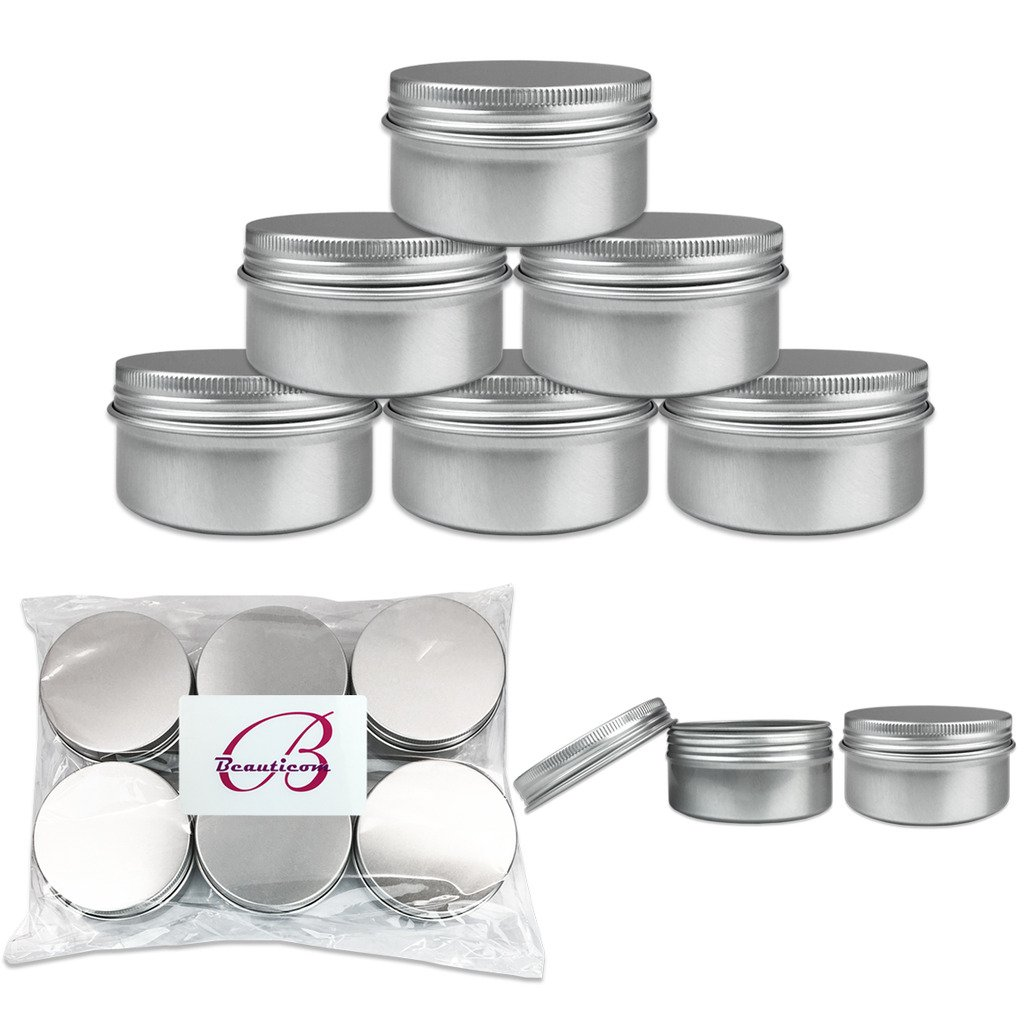 Beauticom Quantity 12 Pieces 80G Refillable Silver Round Empty Aluminum Metal Tin Sample Jar Container with Screw Cap Lid for Candle, Beauty, Skincare, Cosmetics, Make Up, Balm, Salves