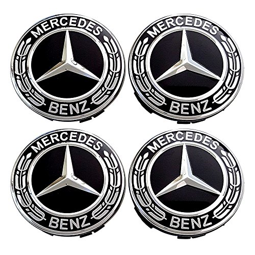 4 x Mercedes Benz Black Emblem Logo Badge Hub Wheel Rim Center Cap 75mm Set of 4 For A B C CL CLA CLC CLK CLS E G GL GLS GLA GLC GLE GLK M S SL SLK R Class - Mercedes Benz 4 X 4