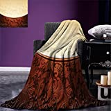 smallbeefly Chocolate Custom printed Throw Blanket Victorian Motifs in Bicolor Baroque Inspired Antique Arrangement Ornate Design Velvet Plush Throw Blanket Beige Brown