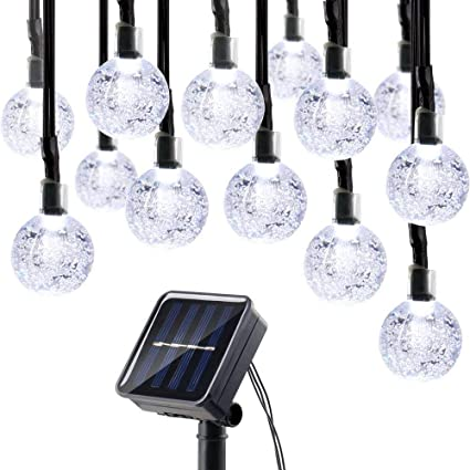 icicle solar string lights 20ft 30 led solar powered fairy globe string light for indoor - Solar Powered Outdoor Christmas Decorations