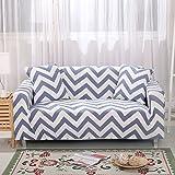 Zhiyuan Zigzag Pattern Stretch Spandex Furniture Slipcover, Double Seat, White