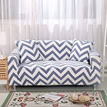 Zhiyuan Zigzag Pattern Stretch Spandex Furniture Slipcover, Double Seat, White
