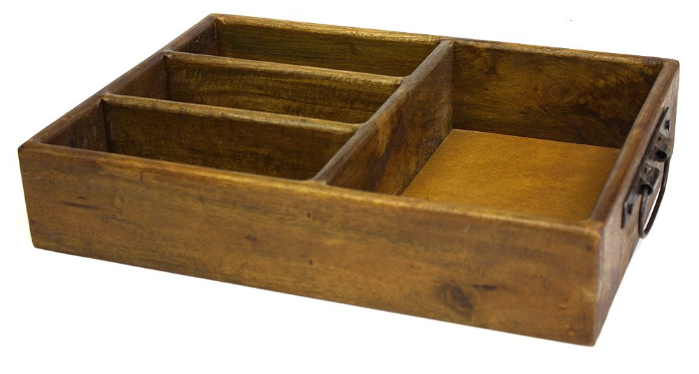 Mountain Woods 4 Section Merlot Vintage Style Mango Wood Organizer Tray/Caddy with Metal Handles