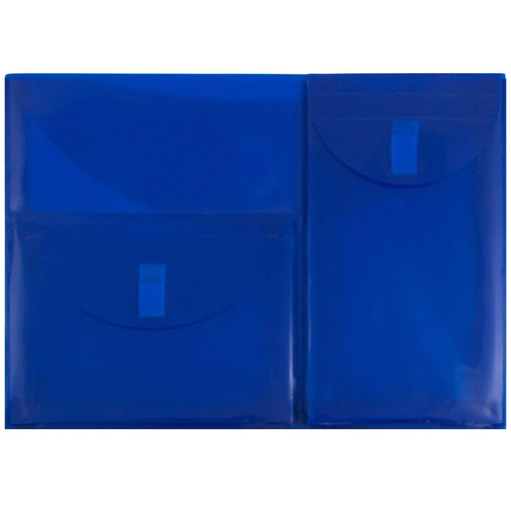 JAM PAPER Plastic Multi Pocket Envelopes with Hook & Loop Closure - 3 Pockets - Letter Booklet - 9 3/4 x 13 - Blue - 12/Pack