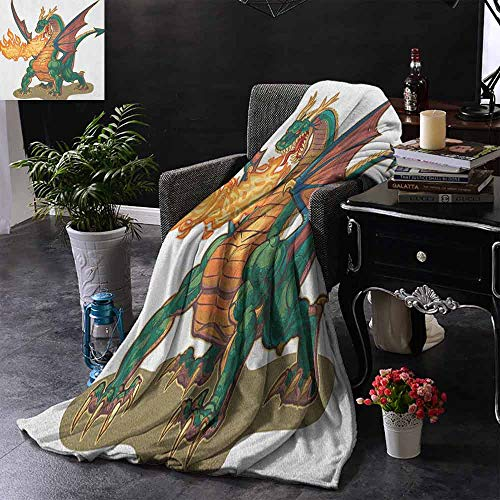 Kenneth Camilla Lightweight Blanket Dragon,Mythical Fire Spitting Monster Dreamy Mascot Reptilian Culture Cartoon,Dark Orange Hunter Green,All Season Blanket 50
