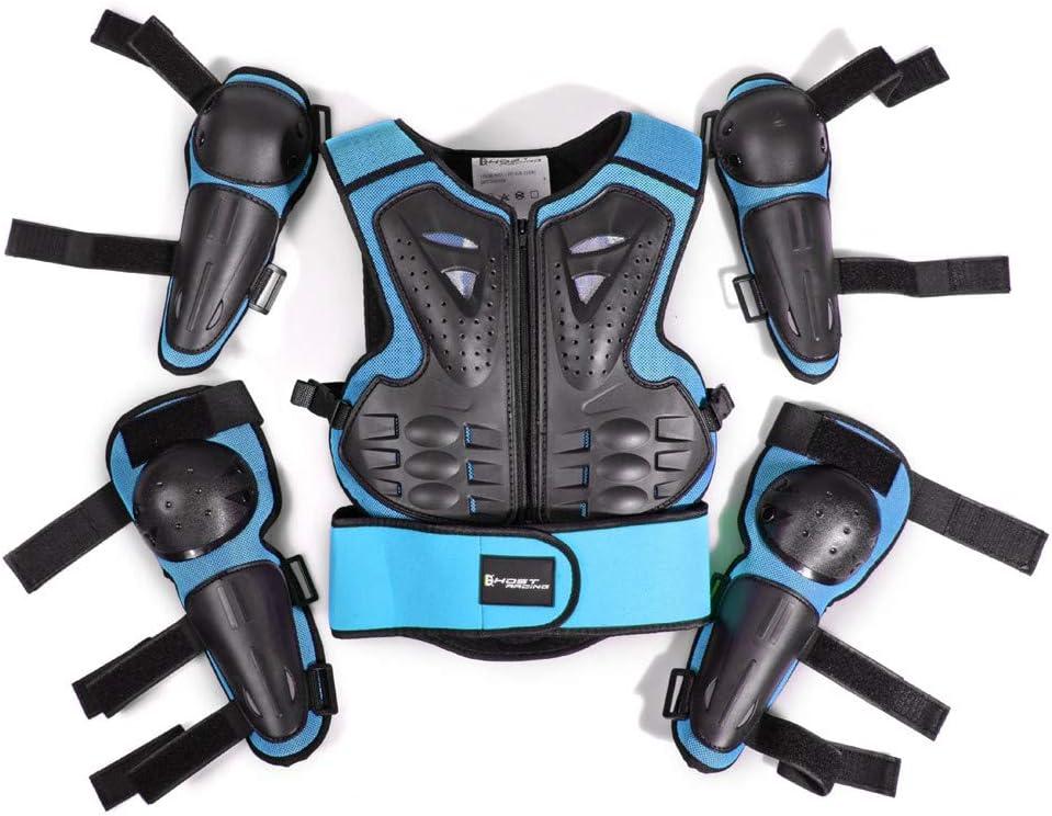 WOSAWE Kinder-Schutzkleidung mit Knieschoner Ellenbogenschoner Schutz Weste Motorrad Ganzk/örperschutz R/üstung f/ür Ski Snowboard Motocross Sport