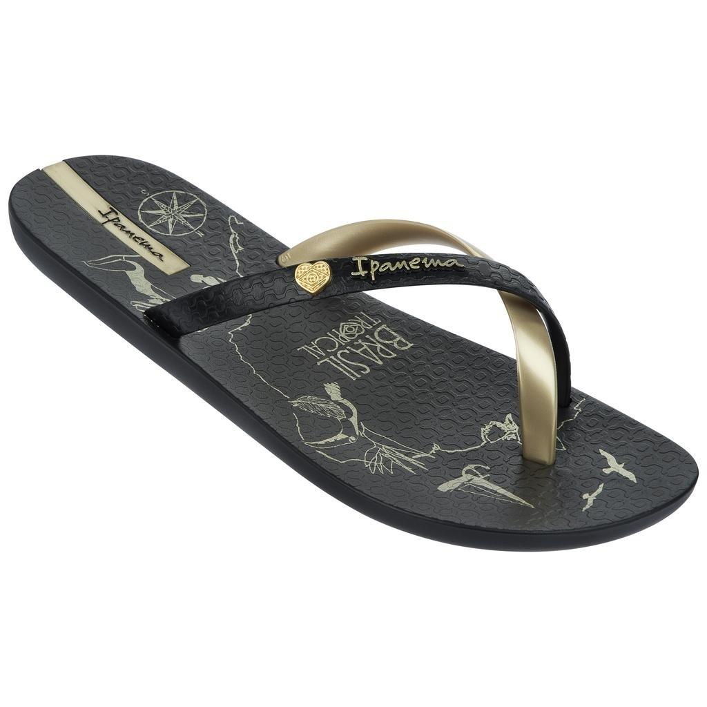 Raider Women s Ipanema Flip Flops - Black Gold 2d1456a6c5