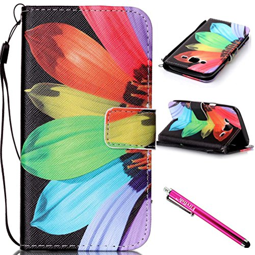 Galaxy J5 2015 Case, Firefish [Kickstand] Flip Folio Wallet Cover Shock Resistance Protective Shell with Cards Slots Magnetic Closure for Samsung Galaxy J5 (2015 Version)-Sunflower