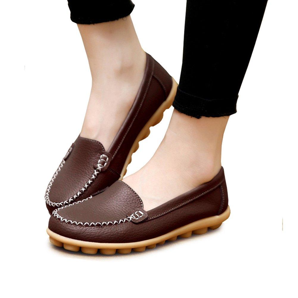 vaganana Women's Soft Comfort Leather Loafers Slip On Driving Walking Flats Shoes (4.5, Coffee)
