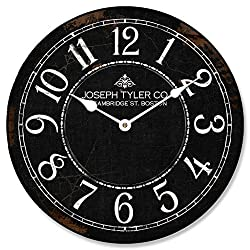 The Big Clock Store Black & White Wall Clock, Available in 8 sizes, Most Sizes Ship 2-3 days, Whisper Quiet.