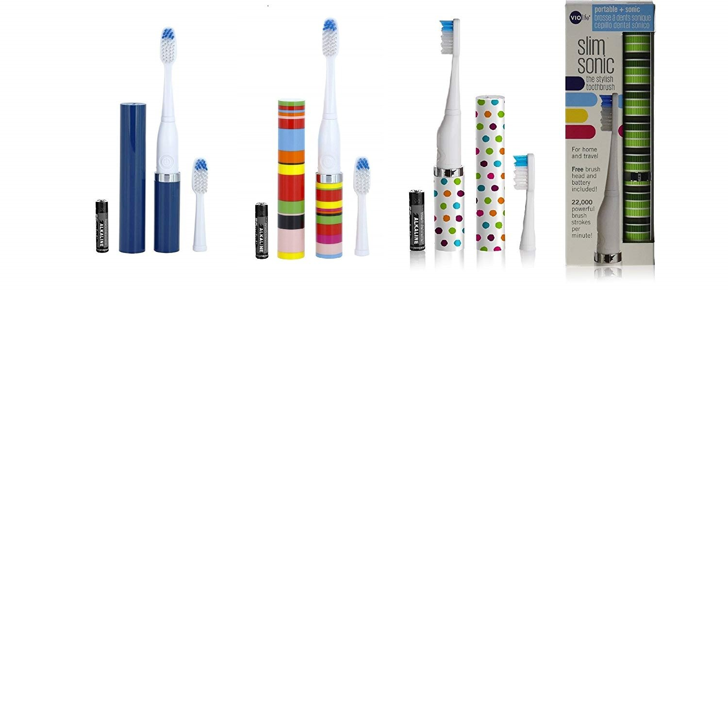 Violife Slim Portable Sonic Toothbrush Set, Designs As Pictured, 4 Count, Ocean, Candy Stripe, Spearmint, Confetti