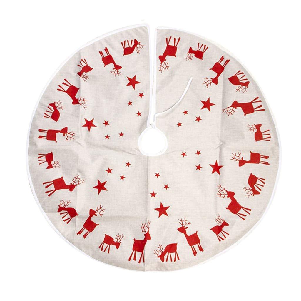 A 100cm diameter TAOtTAO/_Christmas 100cm Fabric Elk Print Christmas Tree Skirt Christmas Tree Decoration approx