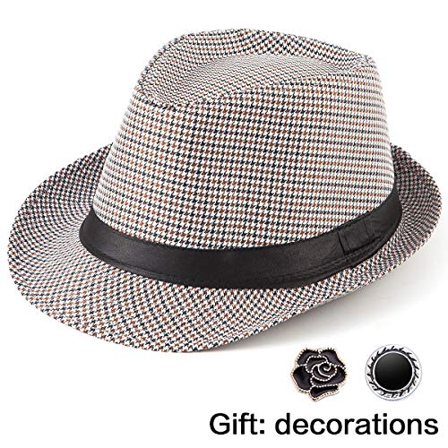 Classic Fedoras for Men Hat - Grey Hat Trilby Fedora Hat Men 1920s Mens Hat Cap