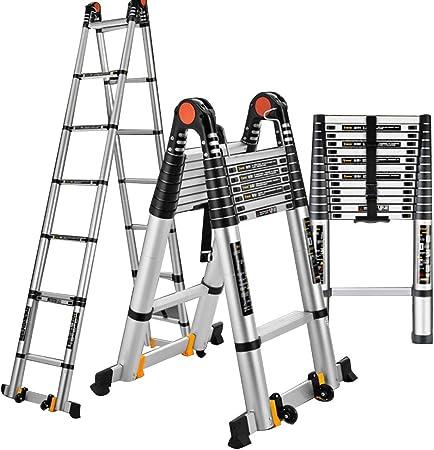 ZR- Escalera Telescópica, Escalera Conjunta Al Aire Libre, Ascensores Plegables Para Hogar, Escaleras Portátiles, Escalera Ingeniería Aleación Aluminio -Fácil de almacenar y fácil de llevar: Amazon.es: Hogar