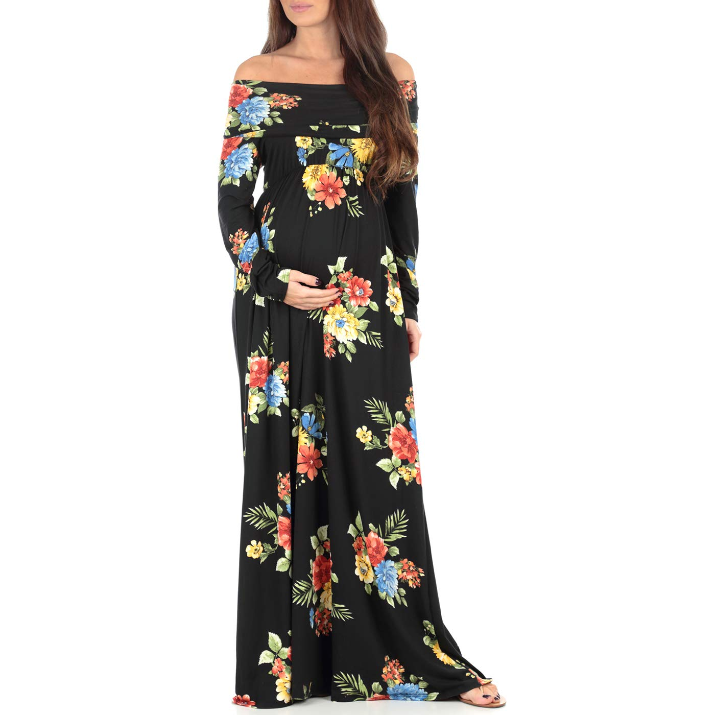 c560b0b00cf8 Women s Floral Over The Shoulder Ruched Maternity and Nursing Dress by Mother  Bee - Made in USA at Amazon Women s Clothing store