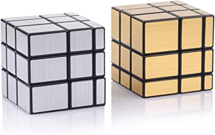 Amazon Com D Fantix Shengshou Mirror Cube Set Mirror Blocks 3x3x3 Mirror Speed Cube Bundle Mirrored Cube Puzzle Silver Gold Pack Of 2 Toys Games