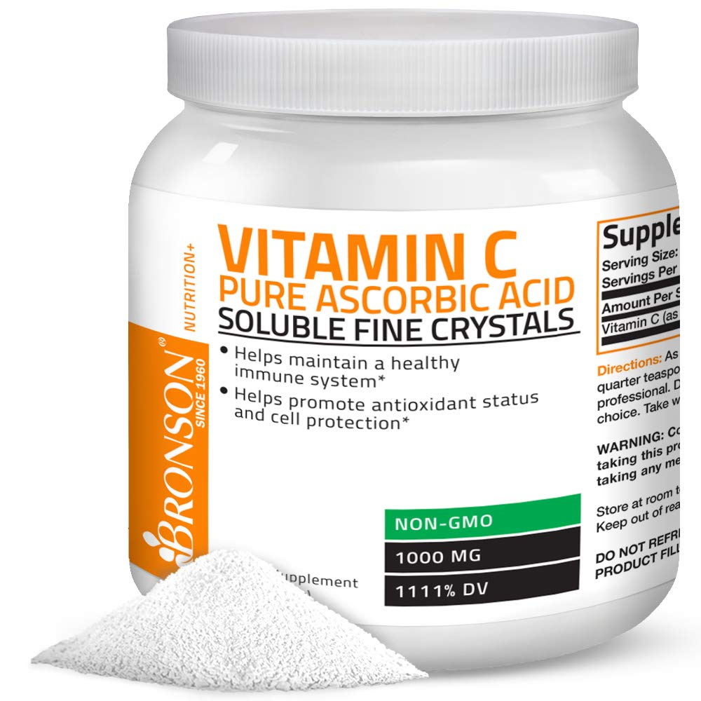 Vitamin C Powder Pure Ascorbic Acid Soluble Fine Non GMO Crystals - Promotes Healthy Immune System and Cell Protection - Powerful Antioxidant - 1 Kilogram (2.2 Lbs) by Bronson