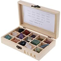 MagiDeal Earth Geology Science Kit - 15 Piece Rock and Mineral Educational Collection in Wooden Box, Early Educational Toy for Kids Toddler