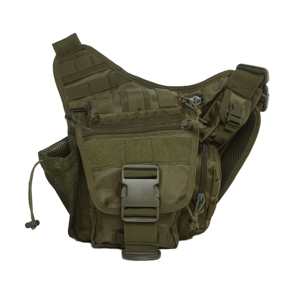 Mini Crossbody Molle Pouch Waterproof Camping Hiking Bags Sport Bag Outdoor Military Backpack Durable Rifle Bag (Army Green)