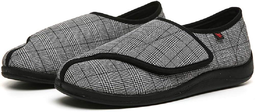 Zapatillas para Diabéticos, con Espuma de Memoria Zapatillas para Diabéticos Ampliación Velcro Ajustable Cómoda Artritis Edema Hinchada Casa Gasa Zapatos para Cirugía