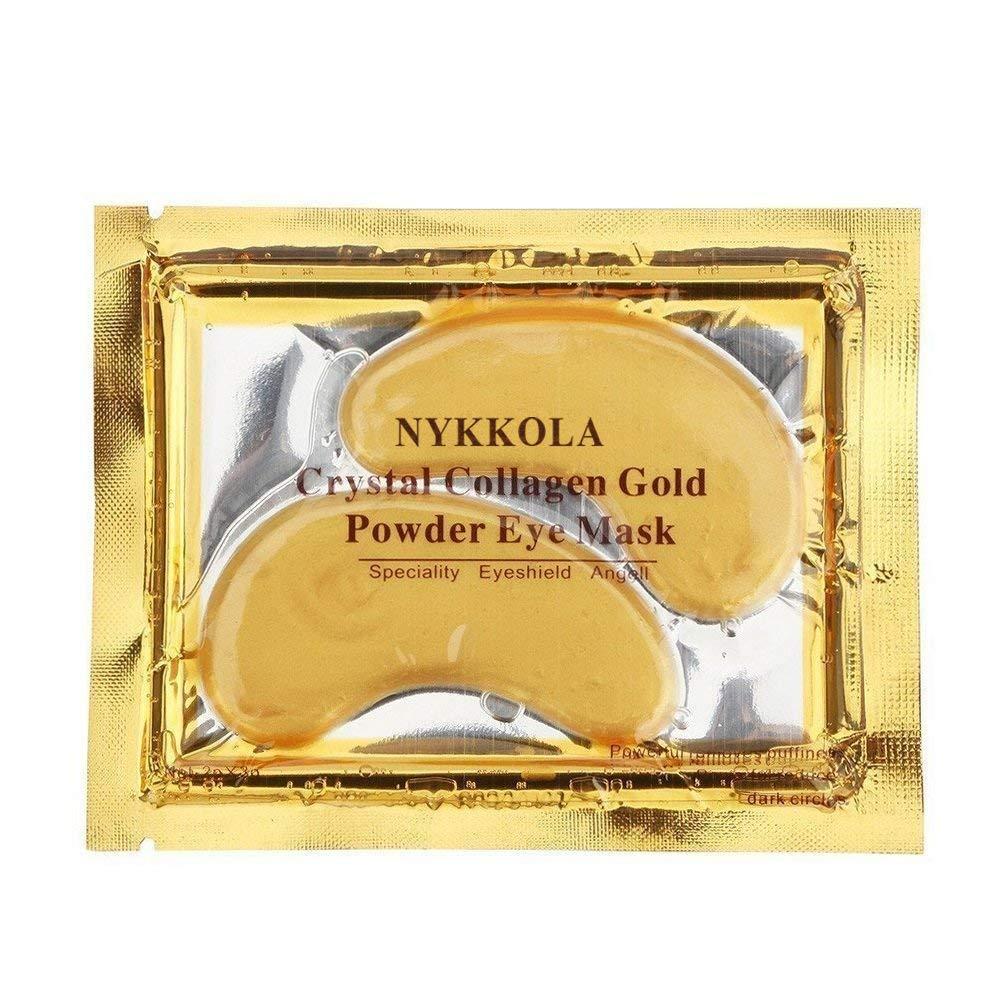 NYKKOLA MultiPairs Gold Eye Mask Powder Crystal Gel Collagen Eye Pads For Anti-Aging & Moisturizing Reducing Dark Circles, Puffiness, Wrinkles (10 Pairs)