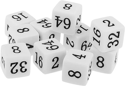 IPOTCH Lote 10 Piezas Dados para Jugar 6 Caras 16 Mm Múltiples Dados Opacos para Juegos De Mesa De Fiesta TRPG - Blanco: Amazon.es: Juguetes y juegos