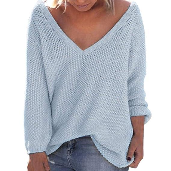 Damen Boho Langarm Bluse Strickshirt Shirt Oberteile Tops Locker Pullover Tunika