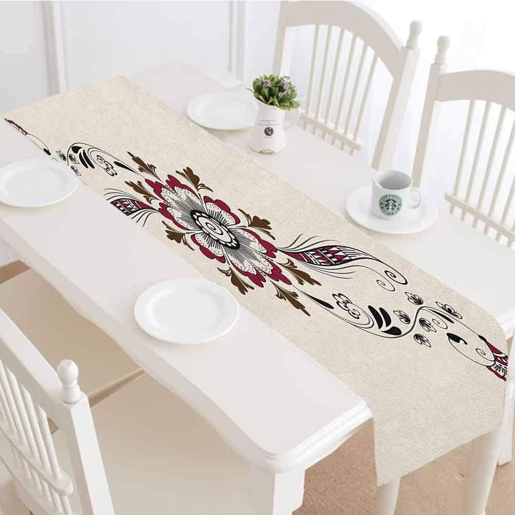 Henna Table Runner,Colorful Floral Pattern Mehndi Arrangement Nature Inspired Abstract Tabletop Collection for Dinner Parties Wedding Events Decor,16x84 Inch,Maroon Brown Black